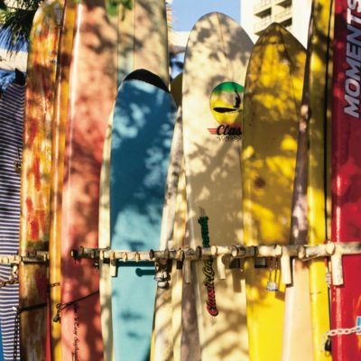 Colorful Surfboards in Rack on Waikiki Beach.